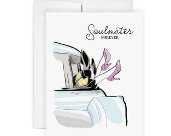 Soulmates -  Greeting Card, Fashion Illustration, Wedding Card, Shower Card, Engagement Card, Love Card, Relationship Card