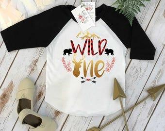 First Birthday Shirt, Buffalo Plaid Birthday, 1st Birthday shirt, Buffalo Plaid Party, Lumberjack Party, Woodland Party Set, Wild One Girl