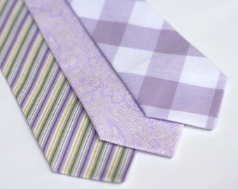 Lavender Neck Ties, lavender tie mens, boys lavendar tie, lavender wedding, lavender gingham, lavender and yellow, pearly tie, mens lavender