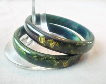1930s Set of Two Bakelite Bangles Forest Green Lemon Teal Bakelite Bracelet Bangle Set