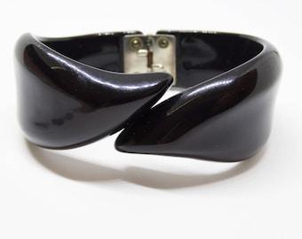 1950s Black Lucite Bypass Hinged Clamper Bracelet