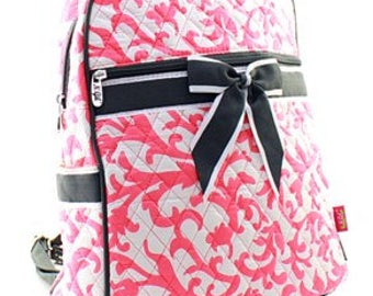Personalized Quilted Damask Backpack - Embroidered Custom Backpack