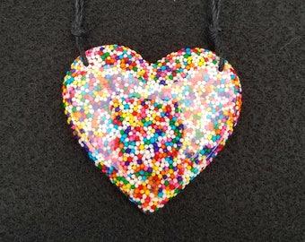 Large Sprinkle Resin Heart