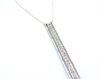 Sterling Silver Rectangular Vintage Filigree Paste Pendant Necklace