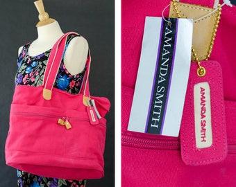 Vintage 80s Amanda Smith Messenger Bag, 80s Shoulder Bag, Pink Gym Bag, Carry On Travel Bag, Weekend Canvas Tote Bag, Summer Beach Bag Med