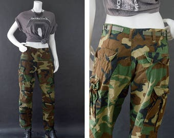 Camouflage Army Pants, Military Cargo Trouser Pants, BDU Army Fatigue Pants, Size Small Short, Woodland Camouflage Pants, Unisex Pants