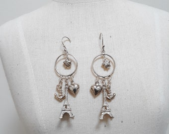 Sterling silver drop earrings.