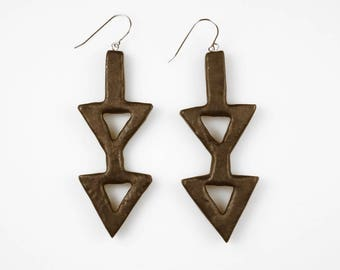Double Down Burned Wood Earrings