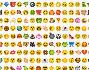 OMG, LOL Emoji Digitally Printed Fabric by Robert Kaufman Fabrics