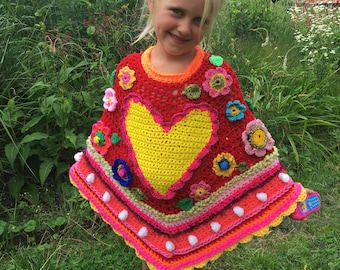 Crocheted poncho polleviewrap poncho flowers heart ibizastyle children