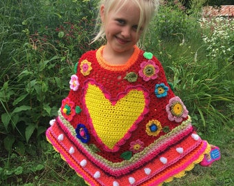Crocheted poncho polleviewrap poncho flowers heart ibizastyle children