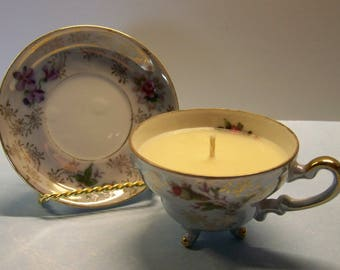 2 in 1 Gift Caramelized Pralines Made in Japan Three Footed Vintage Teacup and Saucer Soy Candle