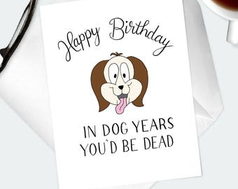 Happy Birthday Card for Dog Person. Whimsical illustrated cartoon puppy greeting card for birthday milestone. Gift for dad, grandad, grandpa