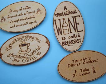 Funny oval fridge magnet - coffee lovers gift, wine loves gift, funny gift