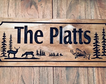 FREE SHIPPING Wood Carved Ranch Cabin Sign Last Name Family Address Plaque Buck Bass Fish Hunting Outdoor Sign Camp Sign Benchmark Signs