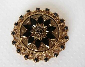 FLORENZA Black & Gold Molded/Pressed Glass Brooch - Signed