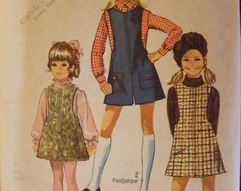 51% OFF 1969 Simplicity Sewing Pattern 8375 Girls' Jumper Mini Pantjumper Size 7 Breast 26