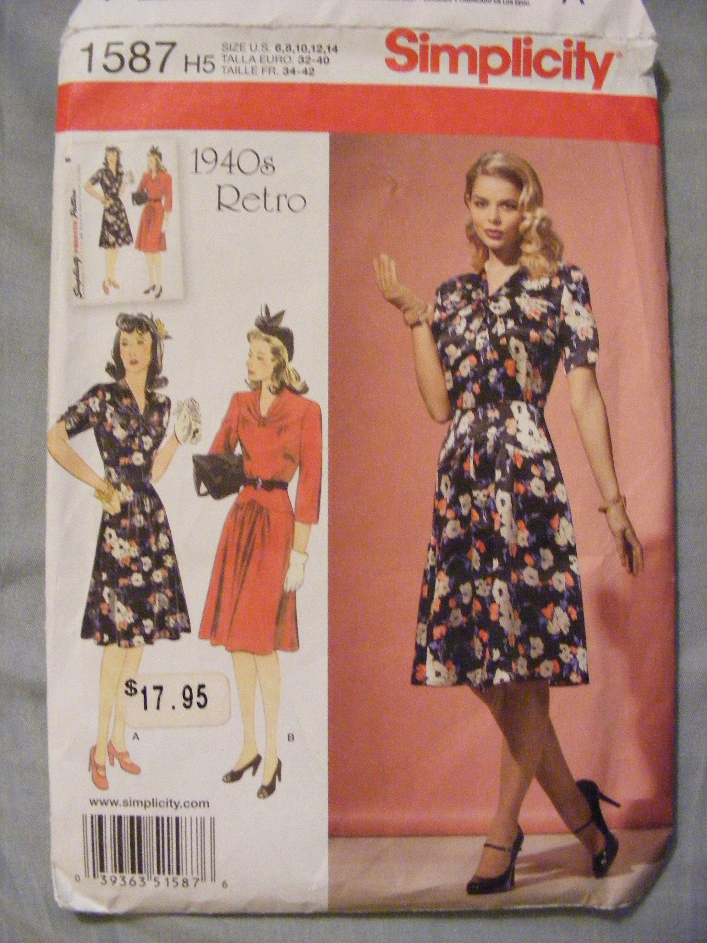 b580bdca911 1940 s Retro Reprint Simplicity Sewing Pattern 1587 Misses  Dress Size 6 8  10 12 14 from WisconsinFound on Etsy Studio