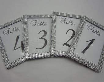 5 x 7 (4) Table Frames with Silver Rhinestone. Wedding, Baby shower, Bridal shower, Quinceñera or special event. Table #'s not included