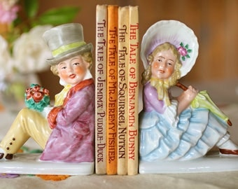 Vintage Bookends for Nursery, Cute Kids Bookends, Childrens Room Decor, Vintage German Ceramic Bookends, Kitsch Ornaments, Pastel Home Decor