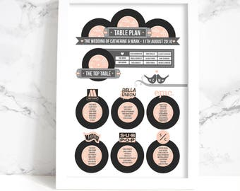 Custom Listing For Jo: A1 Wedding Table Plan + Place Cards +  Table Names (Vintage Vinyl Record Design)
