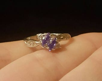 20% off Amethyst ring february birthstone, 2 stone mothers ring, sterling silver vintage nos ring size 6