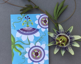 Passiflora Greeting card - passionfruit flower - floral - card for gardener - flower - spring - gardens alison bick