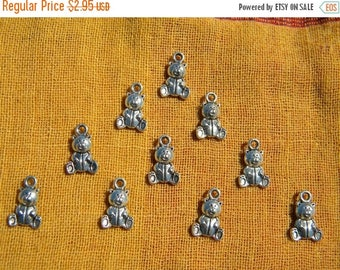 HALF PRICE 10 Silver Teddy Bear Charms