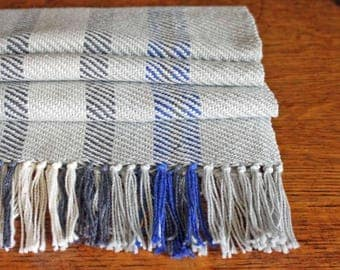 Farmhouse Style Table Runner, Blue and Gray Table Linens, Handwoven Runner, Handmade Table Runner, Table Decor, Weaving, Rustic Style Runner