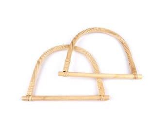 2 clear braided bamboo bag handles