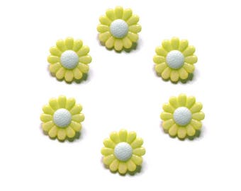 buttons 6 mm white and yellow daisy flowers