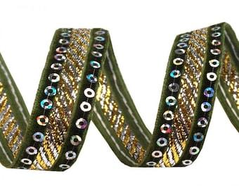 15 mm Green 420778 sequins and velvet Ribbon