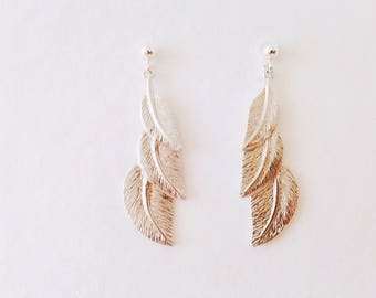 Earrings 925 sterling silver three leaf matte silver, 925 sterling silver hands