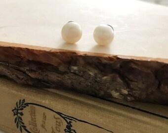 Freshwater Pearl Stud Earrings hypoallergenic titanium soft needles