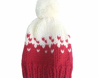 Hat, woolly hat, knitted hat, beanie, bobble hat, winter hat, pom pom, chunky wool, white, red and white pattern