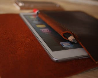 "Leather iPad Case, Apple Pencil Case, 10.5"" iPad Pro Leather portfoli Covers, Burgundy Leather / 9.7"" 10.5"" 12.9"""