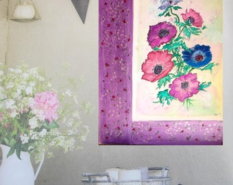 "Contemporary art, original painting on canvas (15,7 x 19,7 in) acrylic painting flowers ""Anémones"" framed on 2 sides of painted embroideries"
