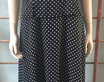 Danny & Nicole 80's does 50's style black polkadot dress / size :Large