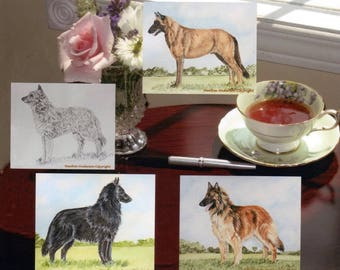 "4 Belgian Sheepdog Greeting Cards with envelopes  5 1/2"" x 4 1/4"" Heather Anderson canine artist"