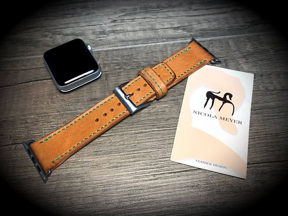Apple Watch 3 2 1 Wrist Band 38 mm made by Genuine Calf/Horse vegetable tanned leather Buckle SILVER  made in Italy - Tuscany watch strap