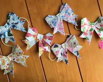 Floral origami bow garland
