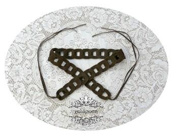 Dark Brown Faux Suede Link Tassel Belt - Bohemian Vintage