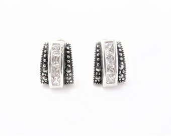 Vintage Princess Cut Cubic Zirconia Sterling Earrings