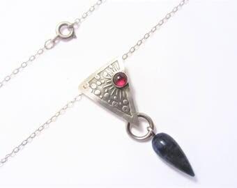 Vintage Sterling Garnet Sodalite Pendant Necklace