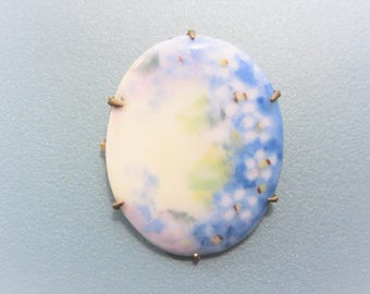 Vintage Porcelain Handpainted Forget Me Not Brooch Estate Jewelry