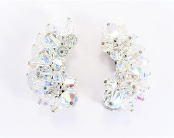 Vintage Aurora Borealis Crystal Crescent Cluster Earrings Clip On 50s