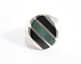 Mens Vintage Taxco Sterling Onyx Malachite Inlay Ring Size 10