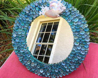 Hand Made Turquoise Seashell and Coral Circular Accent Mirror