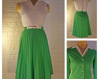 Vintage 1960s White and Lime Green Polyester Tennis Dress Suit with Jacket Small