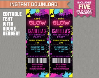 Neon Glow Party Ticket Invitation - INSTANT DOWLOAD - Glow in the Dark Party - Edit and print at home with Adobe Reader